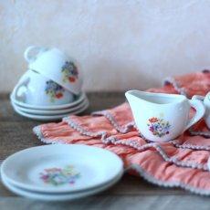 画像3: 陶器 お花のプリントのおままごとティーセット* (3)