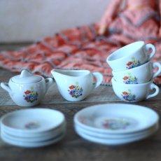 画像9: 陶器 お花のプリントのおままごとティーセット* (9)