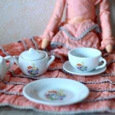 画像2: 陶器 お花のプリントのおままごとティーセット* (2)