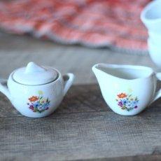画像7: 陶器 お花のプリントのおままごとティーセット* (7)