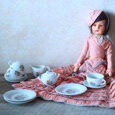 画像1: 陶器 お花のプリントのおままごとティーセット* (1)