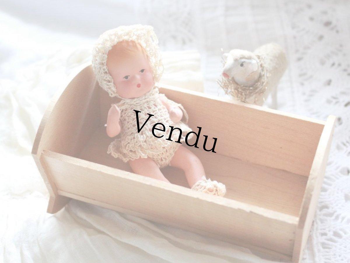 画像1: Nancy Ann Storybook Baby K&H Bisque Doll/Wood Cradle/Original Box/RARE Pamphlet /A (1)