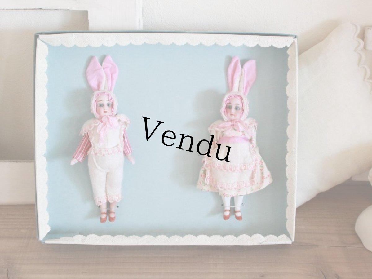 画像1: Gebruder Kuhnlenz Easter Bunny Pair Box A/5 1/2in/Germany (1)