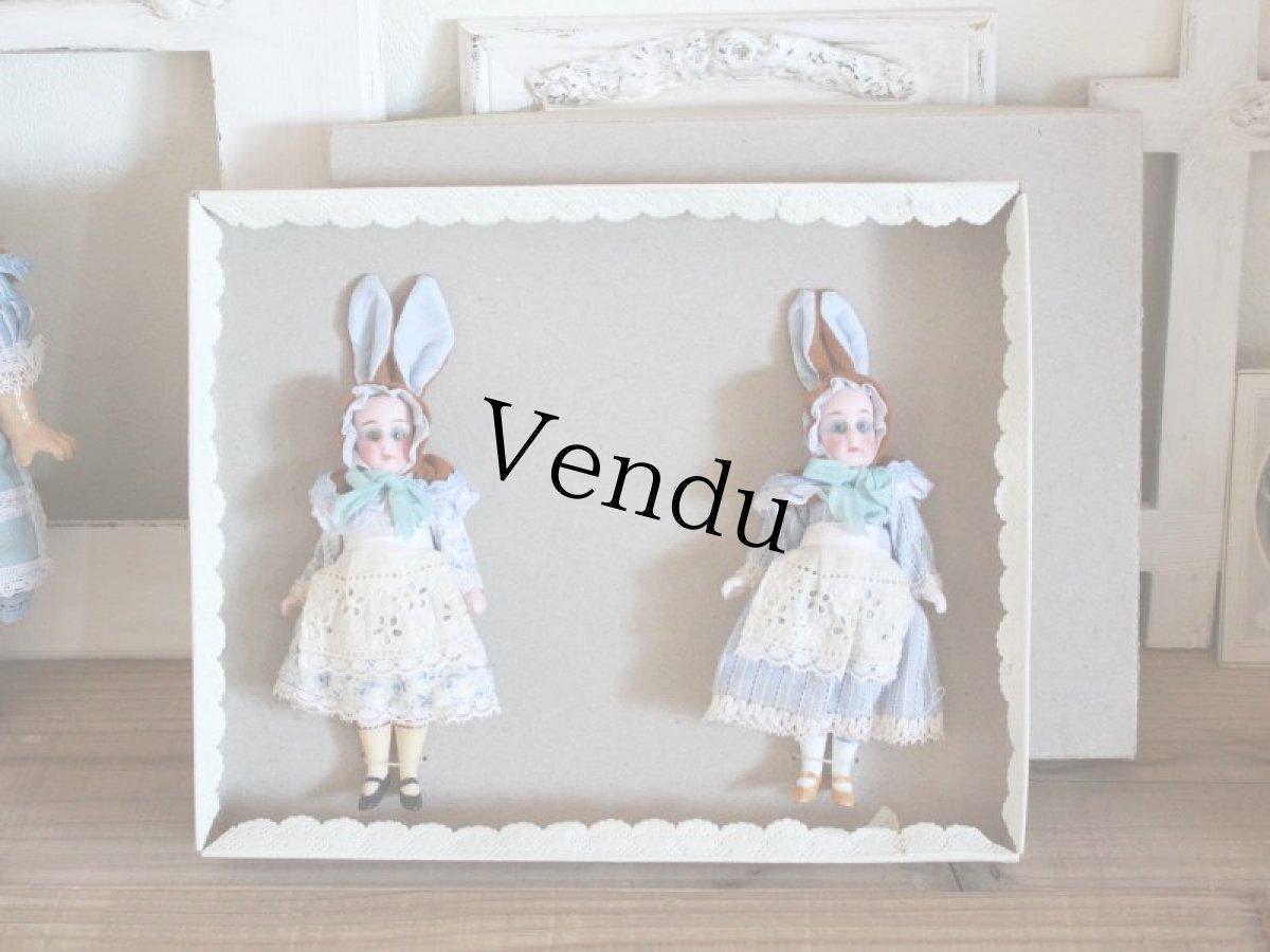 画像1: Gebruder Kuhnlenz Easter Bunny Pair Box C/5 1/2in/Germany (1)