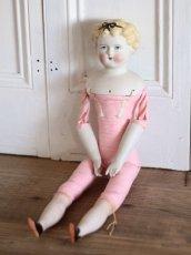 画像11: China Head Doll 18 1/2in / Cute Pink Cloth Body (11)