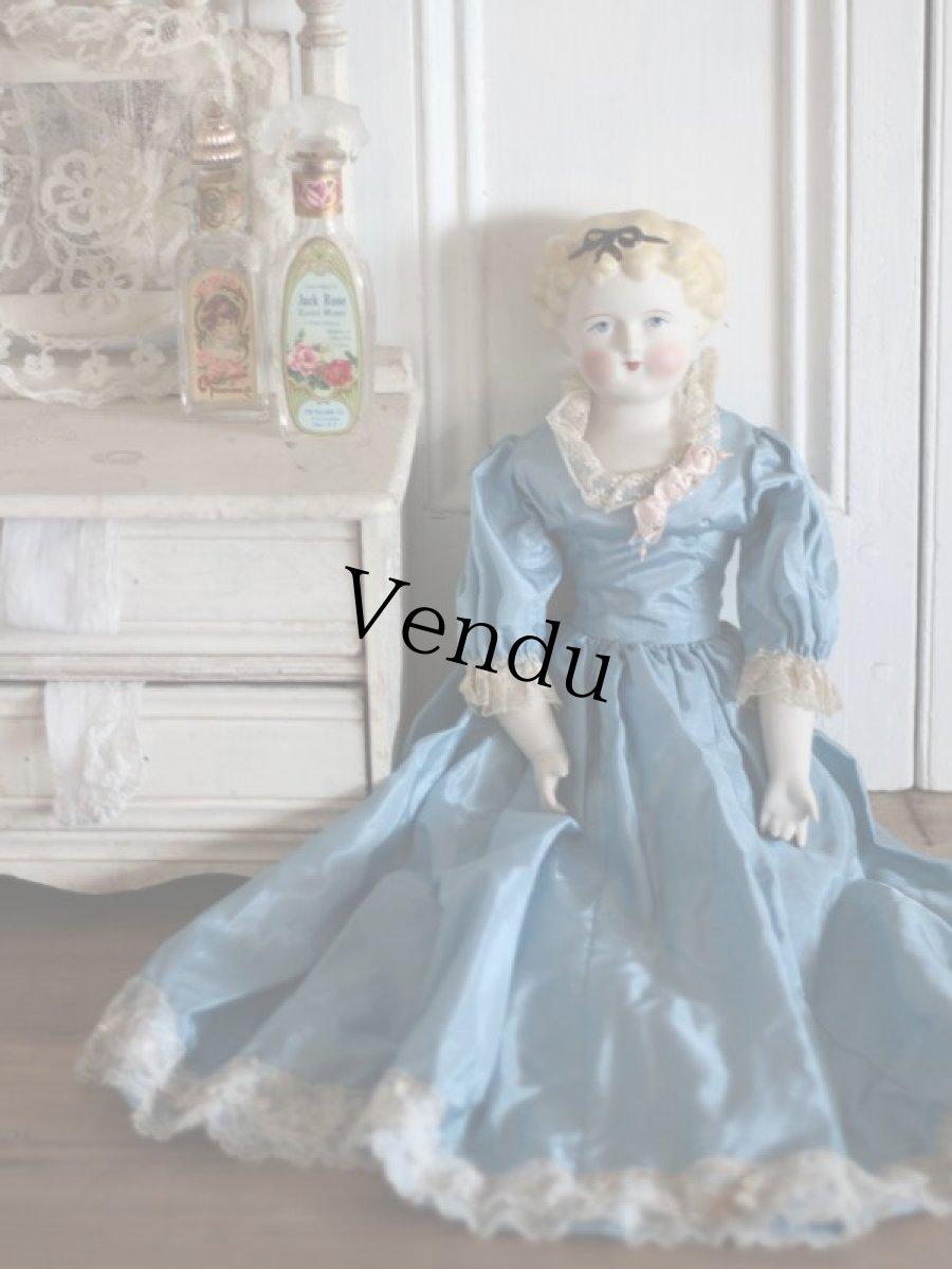 画像1: China Head Doll 18 1/2in / Cute Pink Cloth Body (1)