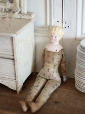 画像9: RARE!! Victorian Print Body China Head Doll / 13.5in /Germany (9)