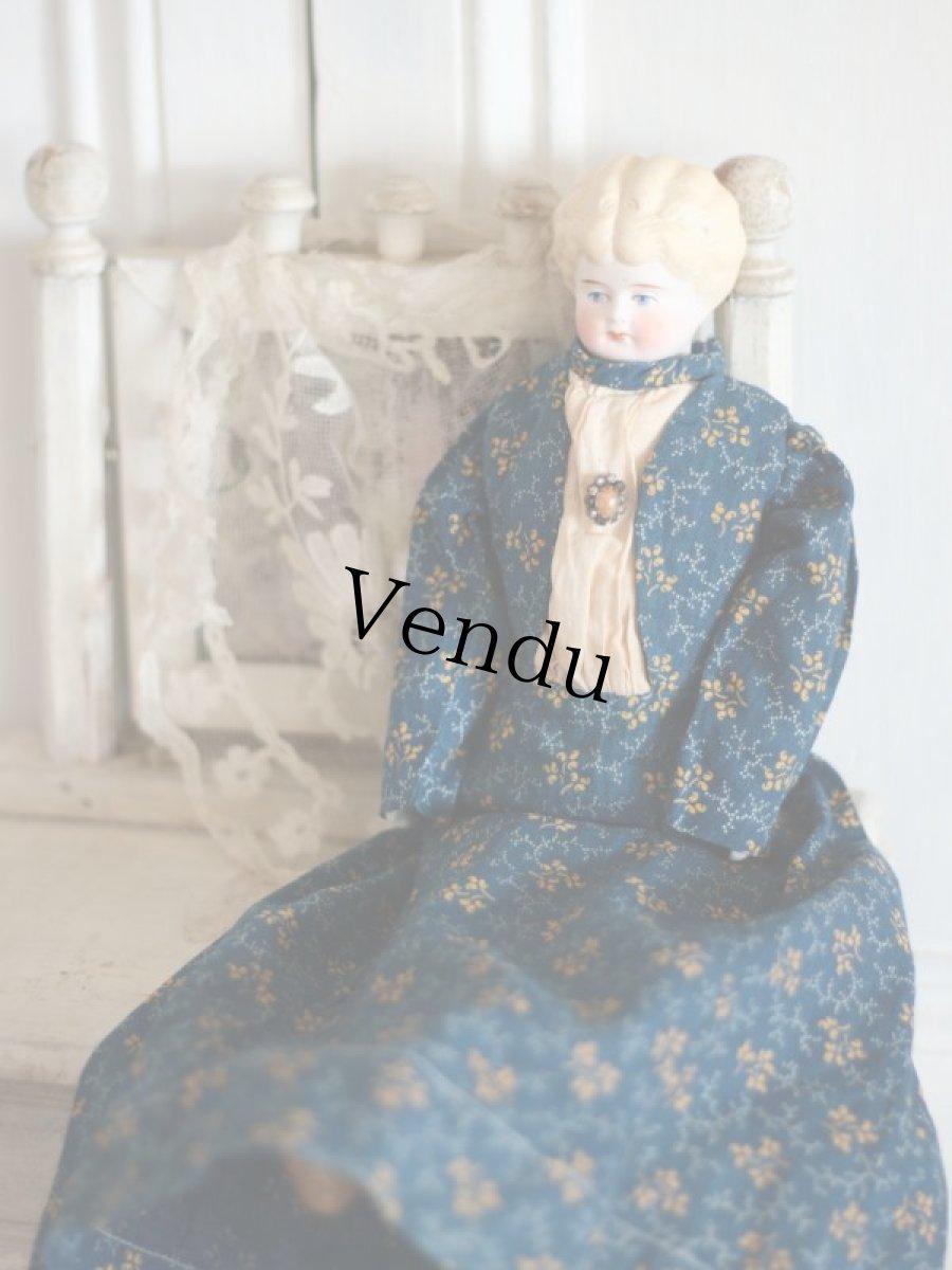 画像1: RARE!! Victorian Print Body China Head Doll / 13.5in /Germany (1)