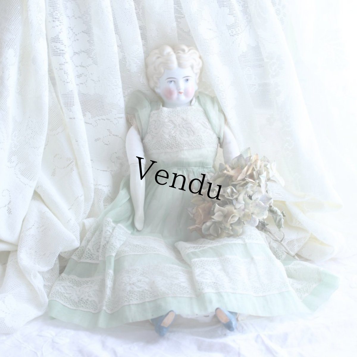 画像1: オーガンジードレスのチャイナヘッドドール EK08181801 (1)