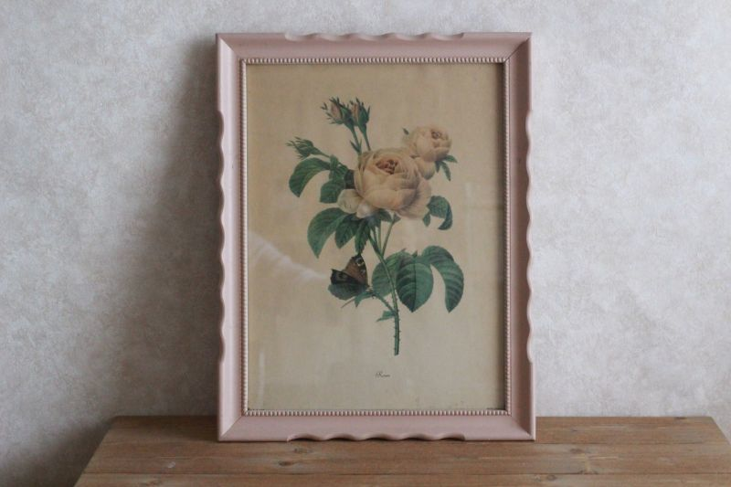 画像1: Antique Roses #1038 Art Print/ Wooden Pink Frame* (1)