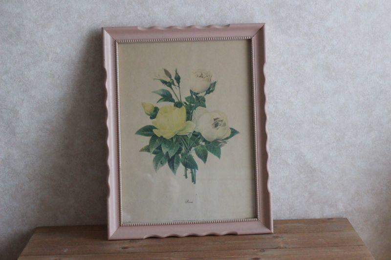 画像1: Antique Roses #1039 Art Print/ Wooden Pink Frame* (1)
