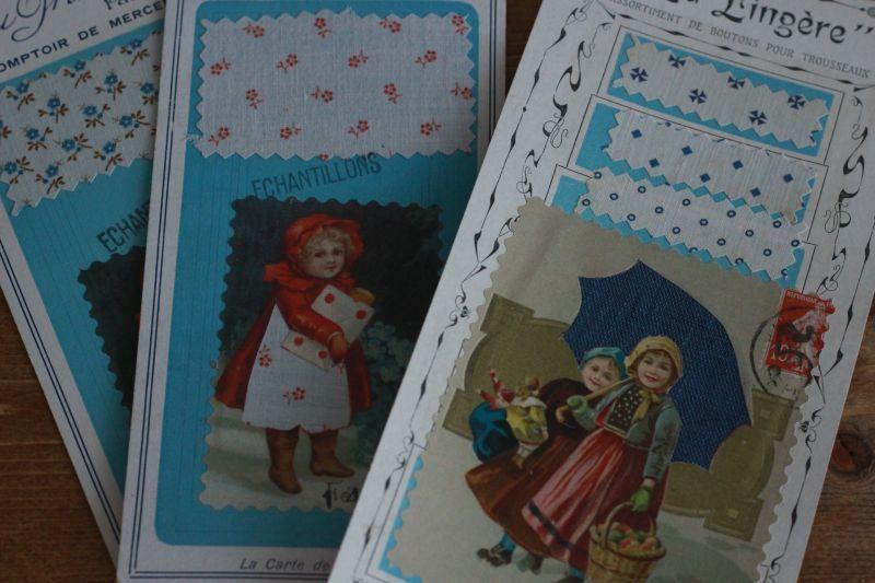 画像1: French  アンティークファブリックサンプルカード (1)