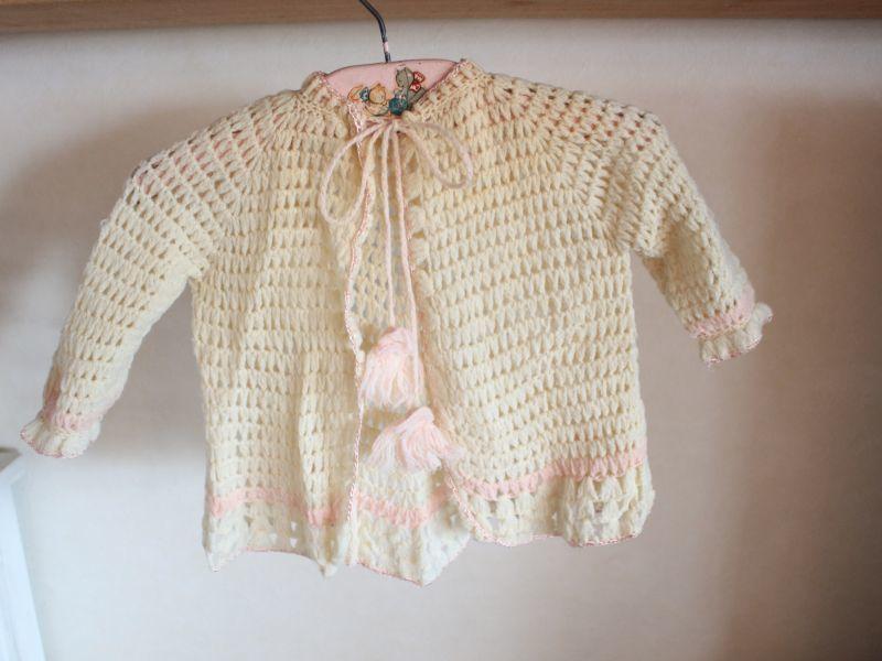 画像1: Baby Crochet Cardigan/#1233307b (1)