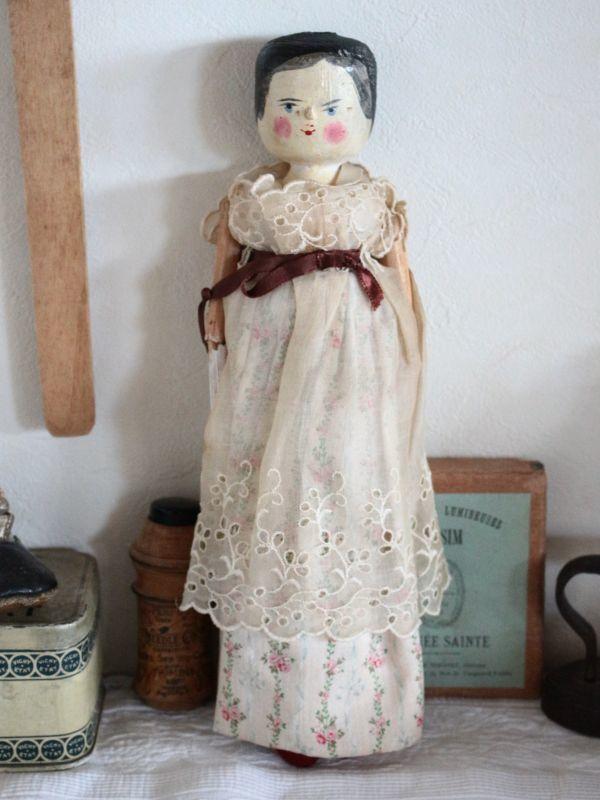 画像1: 花柄スカートのWooden Peg Doll/11.5in (1)