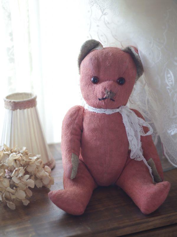 画像1: フレンチ アンティークピンクベア/French Antique Pink Teddy Bear* (1)
