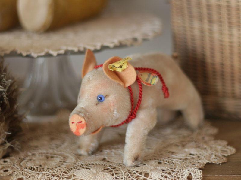 画像1: Antique Steiff Jolanthe Pig/ヨーロッパ蚤の市 (1)