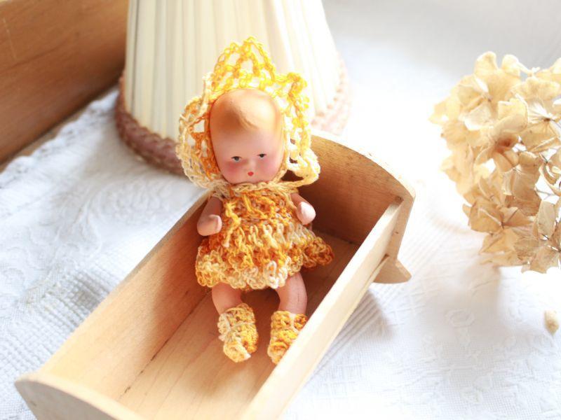 画像1: Nancy Ann Storybook Baby K&H Bisque Doll/Wood Cradle/Original Box/RARE Pamphlet /D (1)