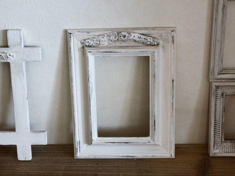 画像1: Antique White Shabby Frame /013 (1)