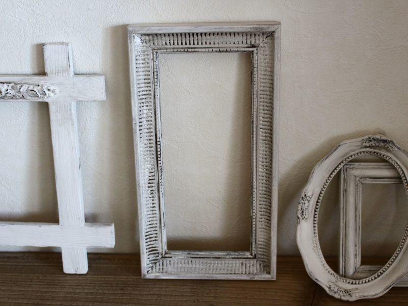 画像1: Antique White Shabby Frame /011 (1)