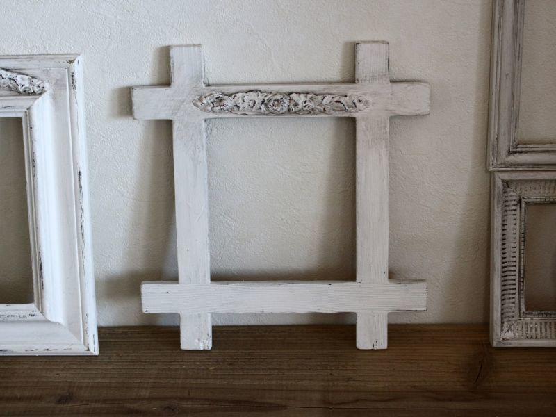 画像1: Antique White Shabby Frame /014 (1)