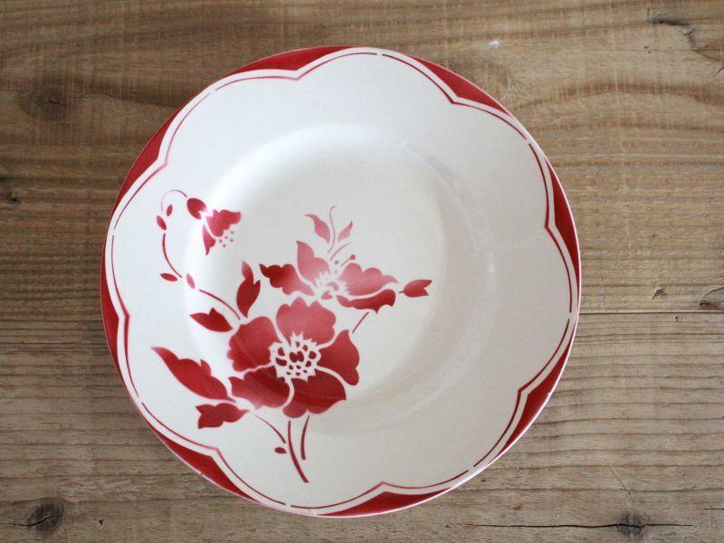 画像1: Gien Red Floral デザートプレートA/ 8 in / France (1)