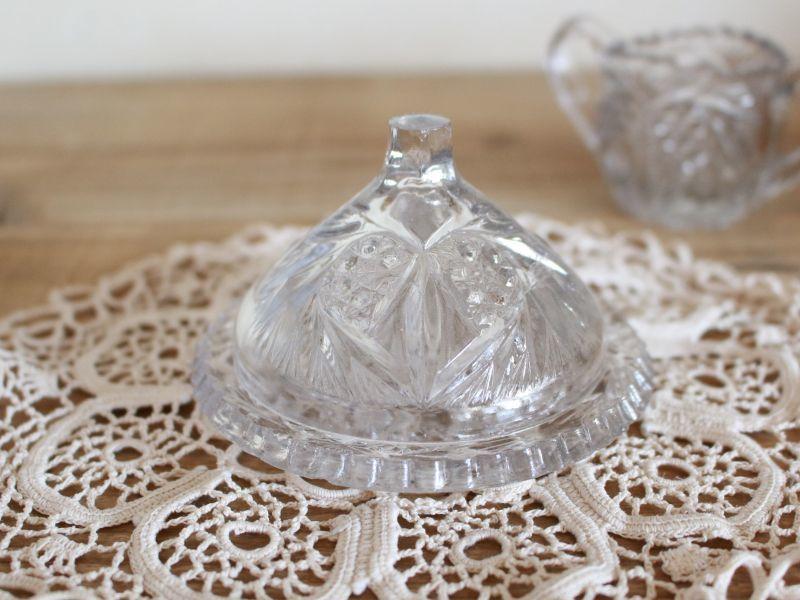 画像1: プレストグラス/ハートのカットガラス/バターディッシュ/France (1)