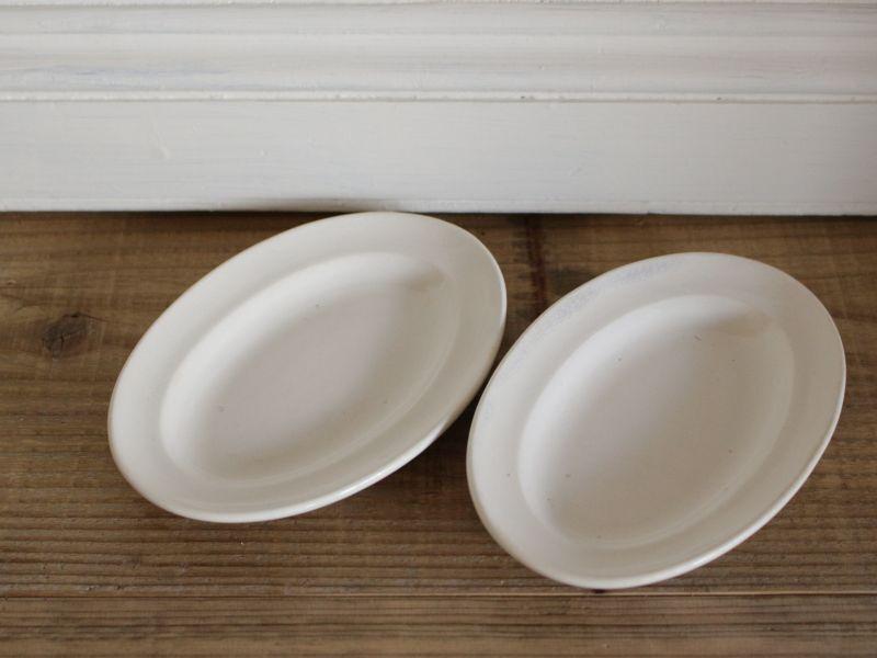 画像1: Maastricht窯 Petrus Regout Oval dish 2set /Creem/Dolls Tableware (1)