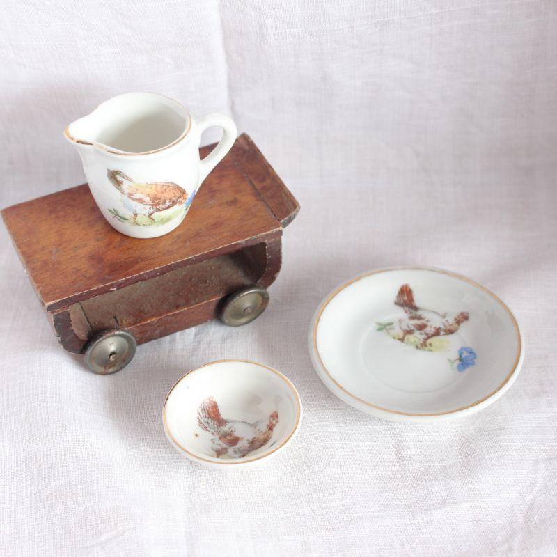 画像1: ドールハウス 鳥とお花のディッシュセット* (1)