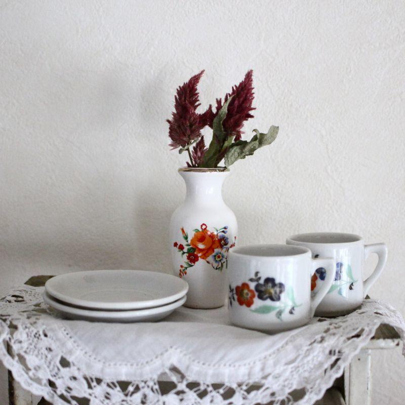 画像1: ドールハウス お花柄のカップセットとフラワーベースのセット * (1)